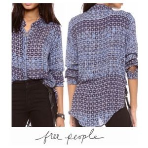 Free People Blue & Navy Checkered Button Down Top